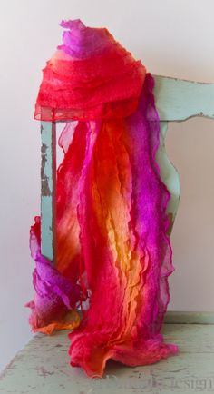 Nuno felted scarf. Vibrant warm colours, super soft.