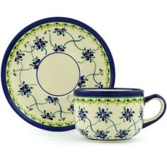 Polish Pottery Cup with Saucer 7 oz Gingham Trellis <3 View the beautiful pottery in details by clicking the image