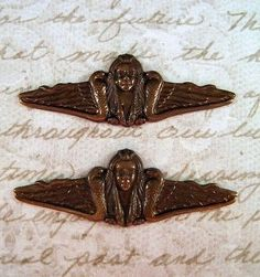 Antiqued Brass Snake Goddess Stampings (2) - ANTFF3337 Jewelry Finding
