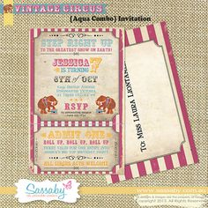Vintage Circus Invitation - Aqua Combo - Kids Birthday Party - DIY PRINTABLE FILE by Sassaby