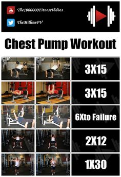 Bodybuilding Best Chest Pump workout for Big Chest Chest Workout For Mass, Chest Workout Routine, Best Chest Workout, Chest Workouts, Gym Workouts, At Home Workouts, Best Beginner Workout, Workouts Without Equipment, How To Grow Muscle