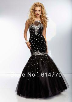 New arrival sweetheart beaded wholesale free shipping custom-made christmas sequined ruffled mermaid black 2014 prom dress P481 US $159.99