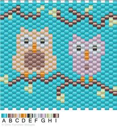 Owls peyote stitch pattern chart