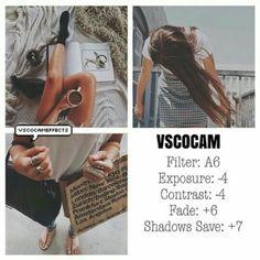 A6 Exposure -4 Contrast -4 Fade +6 Shadows Save +7