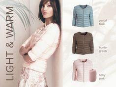 Spring lightweight down jacket: available in baby pink, pastel blue, hunter green colours. http://www.motivi.com/it/shoponline/giubbotti/piumini/E005