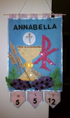 Communion Banner - how to hang, date on the danglers (or up on the hangars? First Communion Banner, Boys First Communion, First Communion Veils, Holy Communion Dresses, Communion Banners, Plywood Furniture, Design Furniture, Catholic Altar, Catholic Kids