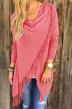 Cowl Neck Fringed Overlap Fall Top