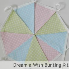 Bunting Kit - Dream A Wish (Limited Edition) -  all you need to make 3 mtrs of fab bunting in solid colours inspired by all things girly!  Triangles, specialist bunting tape, full instructions and a fab drawstring bunting bag to store you homemade bunting