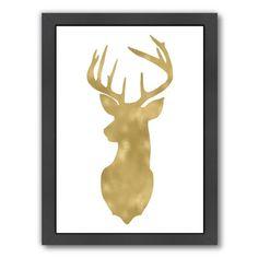 """Mercer41 Deer Head Left Face Framed Graphic Art Size: 26.5"""" H x 20.5"""" W x 1.5"""" D"""