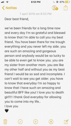 Presents for girls Best Friend Quotes Deep, Words For Best Friend, Best Friend Notes, Letter To Best Friend, Best Friend Texts, Happy Birthday Best Friend Quotes, Best Friend Quotes Meaningful, Best Friend Birthday Message, Best Friend Messages