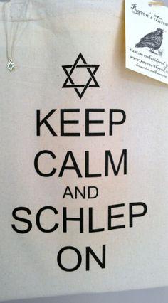 Schlep Tote Bag Jewish Chanukah Yiddish Keep Calm by RavensThread, $15.00