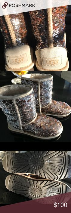 Brand new sequins Ugg boots size 6 Gorgeous brand new size 6 gold and silver sequins Ugg Boots! These are beautiful! Hate to sell but not my size!! 😣 UGG Shoes Ankle Boots & Booties