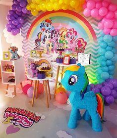 My little pony Rainbow Dash Birthday, Rainbow Dash Party, My Little Pony Birthday Party, Girl Birthday Themes, Unicorn Birthday Parties, Unicorn Party, My Little Pony Cumpleaños, Cumple My Little Pony, Little Poney