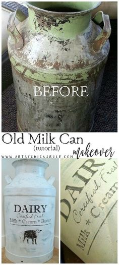 Old Milk Can Makeover (Tutorial) – Furniture Makeover Metal Milk Jug, Old Milk Jugs, Antique Milk Can, Vintage Milk Can, Vintage Metal, Paint Furniture, Furniture Makeover, Milk Can Decor, Painted Milk Cans