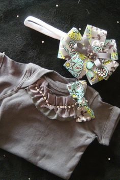 NEWBORN baby girl take home outfit onesie grey slate charcoal mint green turquoise rhinestone trim matching headband