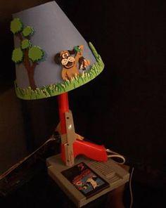 Duck Hunt NES zapper lamp- update in Nintendo Power & GamesMaster! Home Improvement Projects, Home Projects, Duck Hunt Nes, Game Duck, Vintage Industrial Lighting, Geek Crafts, Diy Crafts, 3d Prints, Lamp Design