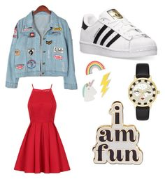 A fashion look from December 2016 featuring fit-and-flare dress, distressed denim jackets and adidas sneakers. Browse and shop related looks. Adidas Red, Chi Chi, Petra, Polyvore Fashion, Camel, Kate Spade, Shoe Bag, Clothing, Fun