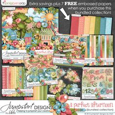 A Perfect Afternoon ~ Bundled Collection by Jumpstart Designs at Pickleberrypop Digital scrapbook kits $