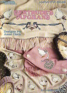 """Adorable Geese Counted Cross Stitch Designs From Leisure Arts From 1989. """"Gertrude's Afghans"""" Shown Here For Anne Cloth. by XtraThings on Etsy"""