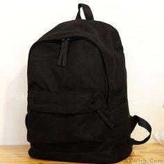 Fresh Pure Color Solid Rucksack School Bag For Girl Canvas Backpacks