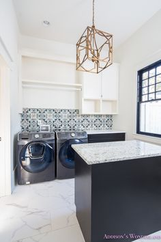 A Tour of our 1905 Historic Home Restoration... white-marble-porcelain-tile-shaw-floors-gold-lantern-chandelier-cement-tile-laundry-room-decor