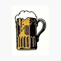 'Cold Beer' Art Print by Beer-Bones Beer Art, Best Beer, Free Stickers, Colour Images, Brewery, Bones, Print Design, Vibrant Colors, My Arts