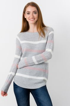 Suzy Shier triped Shaker Stitch Sweater