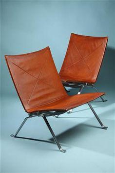 Easy chairs, PK22. Designed by Poul Kjaerholm for E. Kold Christensen, Denmark. 1958.