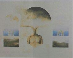 İsmet Soğan: Kompozisyon. Tuval uzerine yagliboya. 100×124 cm. Ozel koleksiyon