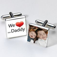 Personalised We Love Our Daddy Photo Cufflinks :: Featuring a photograph of your choice - Fast UK Delivery. Personalised Gifts For Him, Engraved Gifts, Gifts For Dad, Fathers Day Gifts, Bag Display, Christmas Gifts For Men, Shop Plans, Nail Artist, Our Love