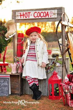 The first day of Hot Cocoa Stand mini sessions, setup at Leroy Oakes in St Charles, IL. Styled and photographed by Mandy Ringe Photography Funny Christmas Photos, Christmas Photo Props, Family Christmas Pictures, Christmas Backdrops, Christmas Portraits, Funny Christmas Cards, Holiday Pictures, Christmas Humor, Holiday Mini Session