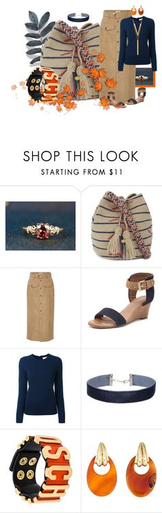 """""""Tan/blue/orange"""" by kloeyblue ❤ liked on Polyvore featuring Guanábana, Frame Denim, Top End, Tory Burch, Miss Selfridge, Moschino and BERRICLE"""