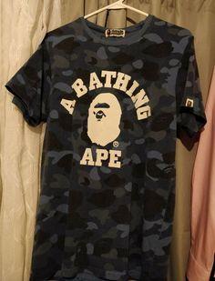 ed1db21a981 Mens Fashion · Authentic Bape Blue camo T-shirt (Size M) A Bathing Ape Head  #