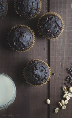 Double Chocolate Peanut Butter Muffins - made without flour and whipped up quickly in your blender, these muffins are low in sugar and a healthier way to satisfy your chocolate cravings! | @tasteLUVnourish on TasteLoveAndNourish.com #ad @lovemysilk