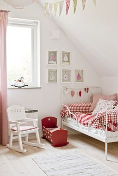 Cute little girls room in fresh red and white