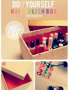 Wrap an empty shoe box in pretty paper, and fill it with your favorite polishes. Make sure to paint the top of each bottle cap with the color inside, so you can easily find the shade you're looking for.