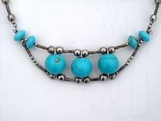 Turquoise bohemian necklace by CraftyKikis on Etsy