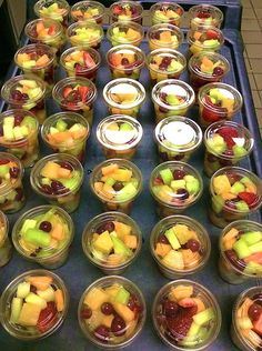 We are all about fresh this year at Coppell ISD (TX) Child Nutrition. The fruit cups go marching 3 x 3. Hurrah, hurrah!