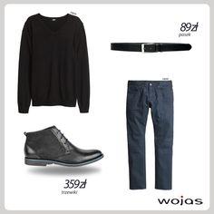 Męskie półbuty Wojas z minimalistycznym kolorowym akcentem (4280/71) www.wojas.pl/produkt/16722 to podstawa casualowej stylizacji! Doskonale komponują się z granatowymi spodniami i klasycznym, czarnym swetrem oraz modnym paskiem Wojas (3972-51) www.wojas.pl/produkt/12502 .