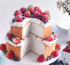 Who can resist angel food cake with whipped topping and fresh berries?