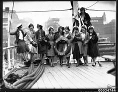 Ten women on deck of the Chilean naval vessel GENERAL BAQUEDANO in Circular Quay, July 1931 by Australian National Maritime Museum on The Commons, via Flickr