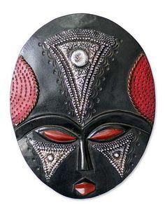 Akan wood mask, 'My Girl on Wednesday' - Akan wood mask