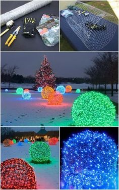 How to make christmas light balls christmas lights outdoor these awesome outdoor lighted balls are quick to make with chicken wire and a strand of lights in different colors they are popular for outdoor christmas aloadofball Choice Image