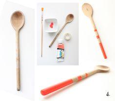 Neon wood spoon Coup de jeune pour une vieille cuiller en bois !