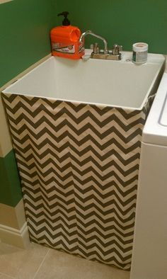 Laundry sink cover up DIY Laundry Tubs, Laundry Room Sink, Basement Laundry, Laundry Area, Laundry Rooms, Do It Yourself Furniture, Do It Yourself Home, Utility Sink Skirt, Slop Sink
