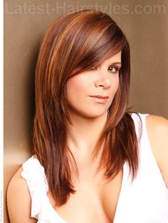 Long layers, dramatically side-swept bangs. Oval, round, long, heart and square shaped faces can wear this style. Hair that is medium to thick in density with not too much natural texture will work best unless you're ready to commit a lot of time and product to your style.