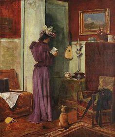 """"""" MUJER EN UN INTERIOR"""",1868 Óleo sobre lienzo. CLOVIS FRANCOIS AUGUSTE DIDIER (1858- 1900)  Éxitoso pintor francés de género, fue alumno de Gérome y Glaixe,expuso con regularidad en el Salón de París de 1880."""