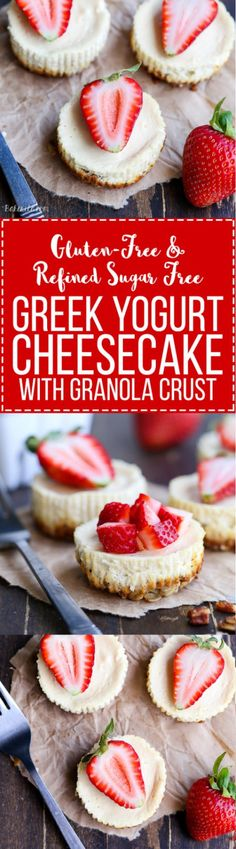 These Greek Yogurt Cheesecakes are smooth and creamy with a bit of tanginess and a crunchy granola crust. These gluten-free cheesecakes were delicious for breakfast topped with fresh berries, and they're only 177 calories each!