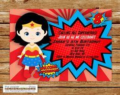 Wonder Woman Invitations   Wonder Woman Birthday   Wonder Woman Party   Super Hero Party   Super Hero Birthday Invitation   Girl Power by ThePaperGiraffeShop on Etsy
