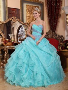 Appliques and Ruffles Accent Quinceanera Gown Dress in Mint Color - Magic Quinceanera
